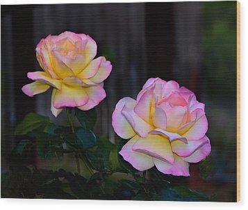 Twin Roses Wood Print