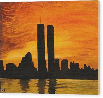 Twin Towers Silhouette Wood Print