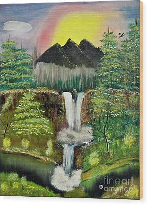 Twin Waterfalls Wood Print