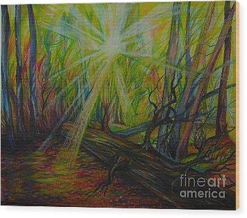 Twinkle Twinkle Autumn Light Wood Print by Anna  Duyunova