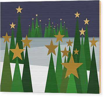 Twinkling Forest Wood Print by Val Arie
