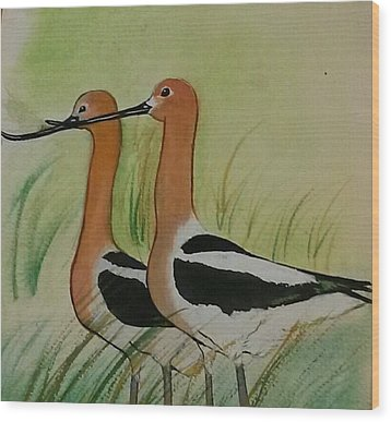 Twins Of Feathers Wood Print