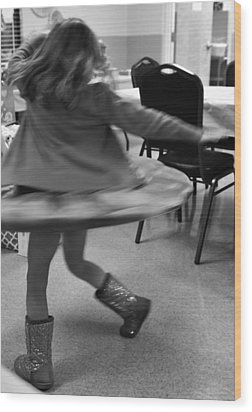 Twirling Girl  Wood Print by Mary Ward
