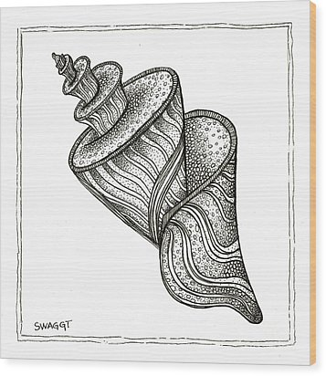 Twirly Shell Wood Print by Stephanie Troxell