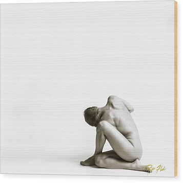 Wood Print featuring the photograph Twisted Figure On White by Rikk Flohr