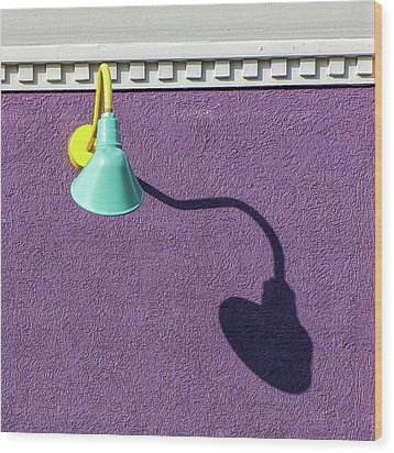 Wood Print featuring the photograph Twisted Lamp And Shadow by Gary Slawsky