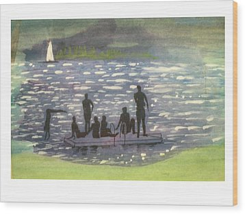Twlight Swim  Wood Print by Hal Newhouser