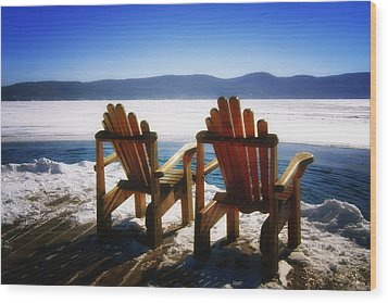 Two Adirondack Chairs  Wood Print by George Oze