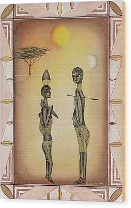 Two African Figures And Tree Wood Print by Sally Appleby