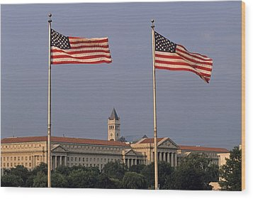Two American Flags With Old Post Office Building Wood Print by Sami Sarkis