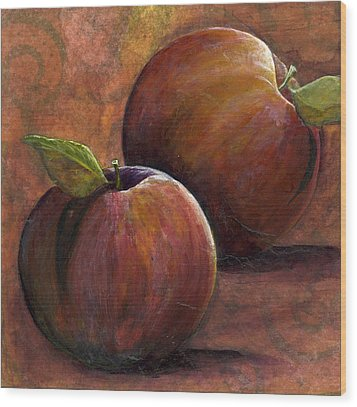 Two Apples Wood Print by Sandy Clift