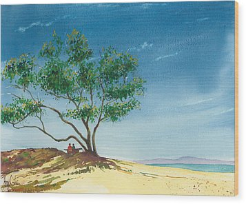 Two At The Beach Wood Print by Ray Cole