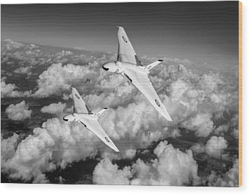 Wood Print featuring the photograph Two Avro Vulcan B1 Nuclear Bombers Bw Version by Gary Eason