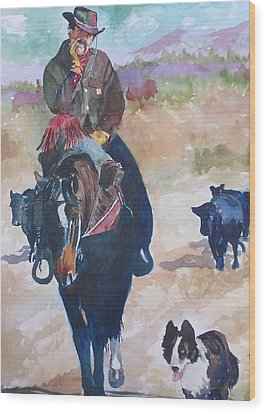 Wood Print featuring the painting Two Bad Cowdogs by P Maure Bausch