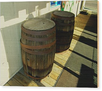 Wood Print featuring the photograph Two Barrels by Lenore Senior