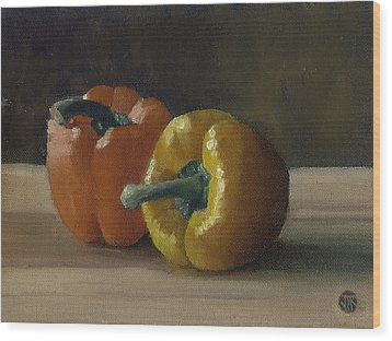 Two Bell Peppers Wood Print by John Reynolds