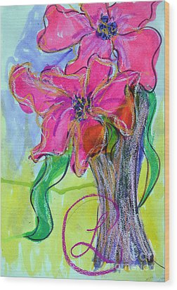 Two Big Pink Blooms Wood Print