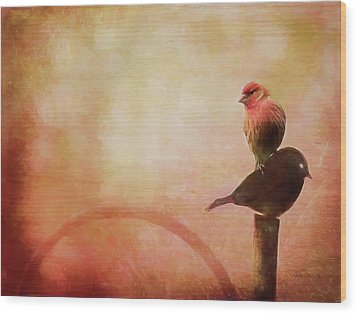 Two Birds In The Mist Wood Print by Bellesouth Studio
