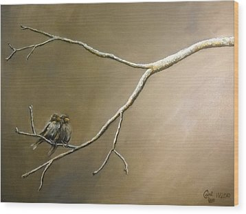 Two Birds On A Branch Wood Print