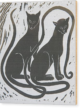 Two Black Felines Wood Print by Nareeta Martin