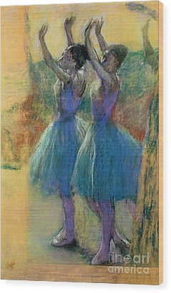 Two Blue Dancers Wood Print by Edgar Degas