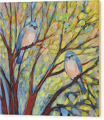 Two Bluebirds Wood Print