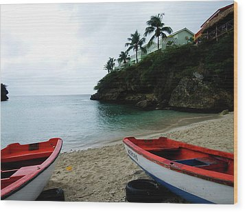Wood Print featuring the photograph Two Boats, Island Of Curacao by Kurt Van Wagner