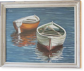 Wood Print featuring the painting Two Boats by Natalia Tejera