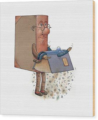 Two Books Wood Print by Kestutis Kasparavicius