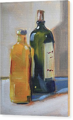 Wood Print featuring the painting Two Bottles by Nancy Merkle