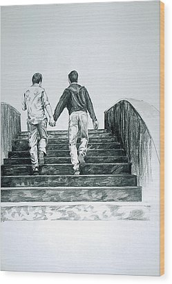 Two Boys Wood Print by Rene Capone