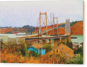 Two Bridges In The Backyard Wood Print by Wingsdomain Art and Photography