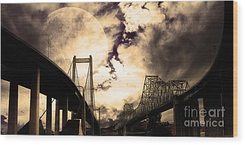 Two Bridges One Moon Wood Print by Wingsdomain Art and Photography