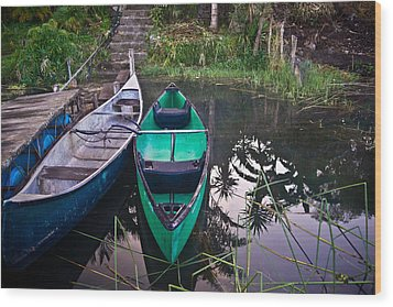 Two Canoes Wood Print by Douglas Barnett