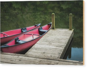 Two Canoes Wood Print by James Barber