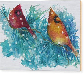 Two Cardinals Wood Print by Peggy Wilson