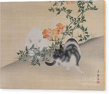 Two Cats Wood Print by Japanese School