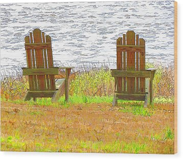 Two Chairs Facing The Lake Wood Print by Lanjee Chee
