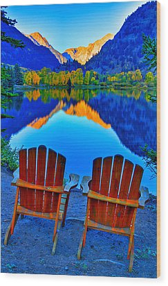 Two Chairs In Paradise Wood Print