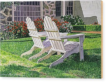 Two Chairs On Carmelina Wood Print by David Lloyd Glover
