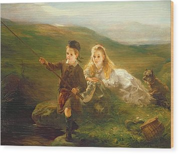 Two Children Fishing In Scotland   Wood Print by Otto Leyde