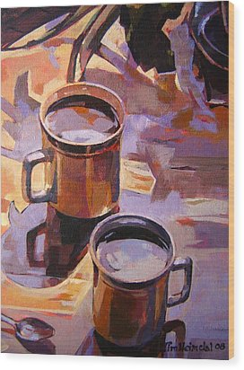 Wood Print featuring the painting Two Coffees Take 2 by Tim  Heimdal