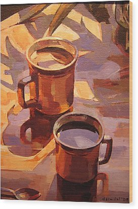 Two Coffees Wood Print