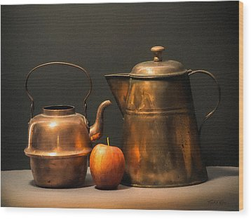 Wood Print featuring the photograph Two Copper Pots And An Apple by Frank Wilson