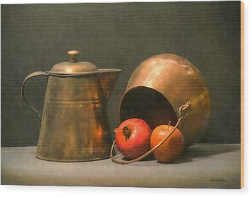 Wood Print featuring the photograph Two Copper Pots Pomegranate And An Apple by Frank Wilson
