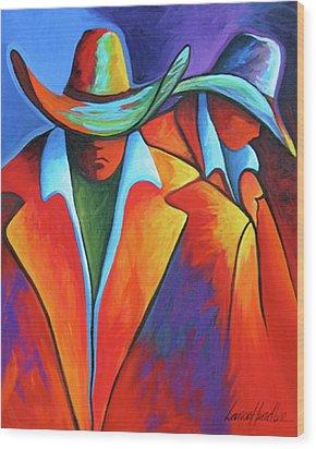 Two Cowboys Wood Print by Lance Headlee