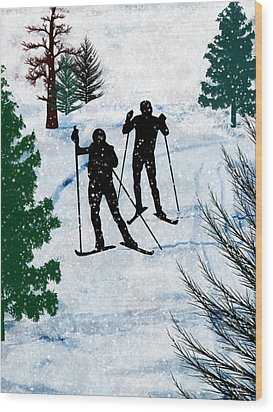 Two Cross Country Skiers In Snow Squall Wood Print by Elaine Plesser