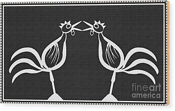 Two Crowing Roosters 2 Wood Print by Sarah Loft