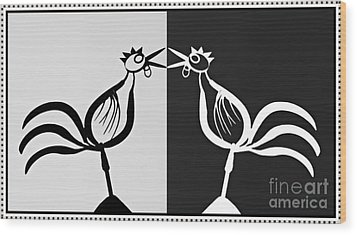 Two Crowing Roosters 3 Wood Print by Sarah Loft