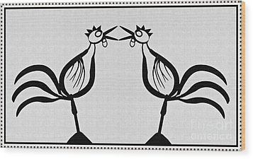Two Crowing Roosters  Wood Print by Sarah Loft